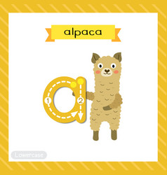 Letter a lowercase tracing alpaca vector