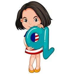 Little girl holding letter q vector
