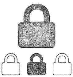 Lock icon set - sketch line art vector image