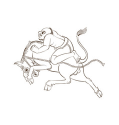 Man riding horse in thai traditional painting vector