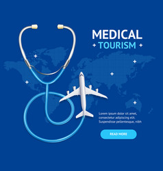 medical tourism concept banner card with realistic vector image