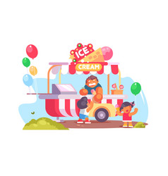 mobile food truck and van with ice cream vector image