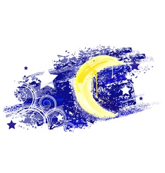 moon and night sky with stars painted saturated ye vector image
