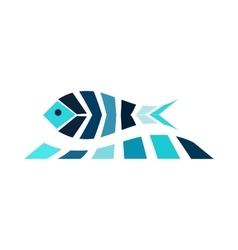 Mosaic fish on the wave logo icon sea fishing vector