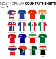 Most popular country t-shirts part 1 vector