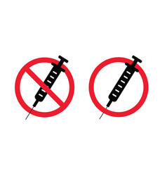No drugs no syringe stop no injection needles vector