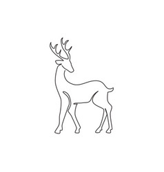 One continuous line drawing wild reindeer vector