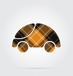 Orange black tartan icon - cute rounded car vector