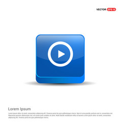 play icon - 3d blue button vector image