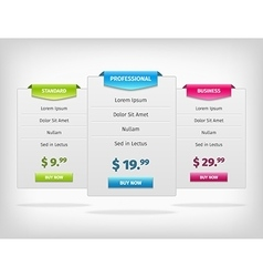 Pricing hosting banner plans table vector