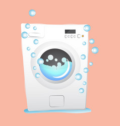 Red washing machine in flat style isolated on vector