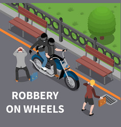 Robbery on wheels isometric composition vector