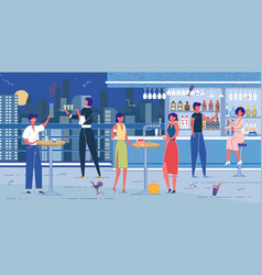 rooftop bar or nightclub furnishing and visitors vector image