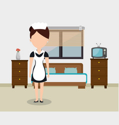room service woman working in the hotel vector image