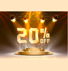 Scene golden 20 sale off text banner night sign vector