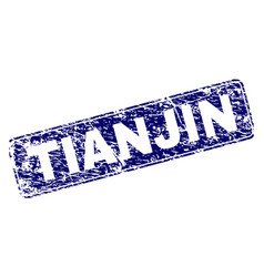 scratched tianjin framed rounded rectangle stamp vector image