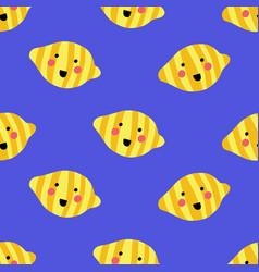 seamless pattern with happy smiling lemons on blue vector image