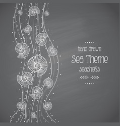 Seashells in waves on chalkboard vector