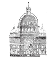 Section dome st peters rome vintage vector