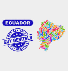 Service ecuador map and scratched guy genitals vector