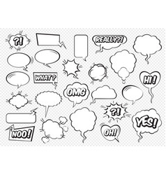 set comic speech bubbles vector image