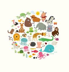 set cute cartoon animals flat vector image