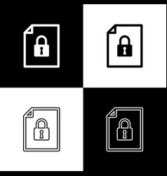 Set document and lock icons isolated on black and vector