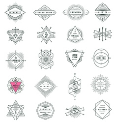 set hipster line signs and emblems vector image