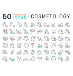 set line icons cosmetology vector image
