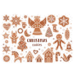 set of christmas cookies in cartoon style vector image