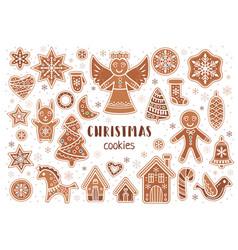 Set of christmas cookies in cartoon style vector