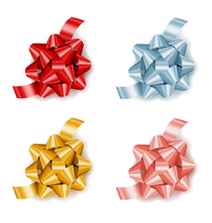 set of colorful realistic gift bows with ribbon vector image