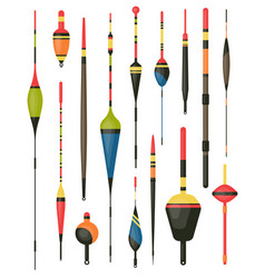 set of isolated bobber or fish hook tackle float vector image