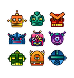 Set of retro robot and monster icons vector