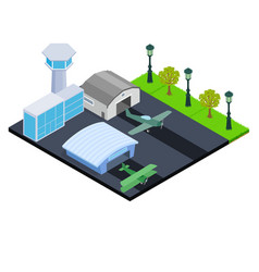 Small airport concept banner isometric style vector
