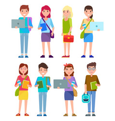 Student teenagers collection vector