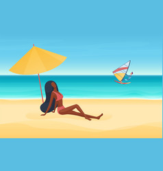summer sea or ocean beach seashore vacation vector image