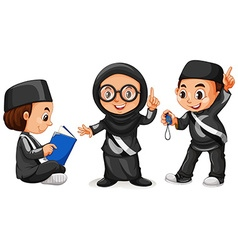 Three muslim kids in black costume vector