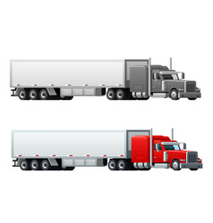 Trailer truck long vehicle isolated icons vector