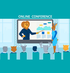 Trainer lion teach animalsduring online conference vector