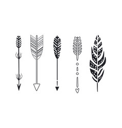 Tribal arrows set black decorative arrows and vector