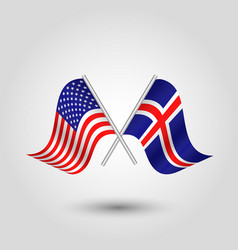 Two crossed american and icelandic flags vector