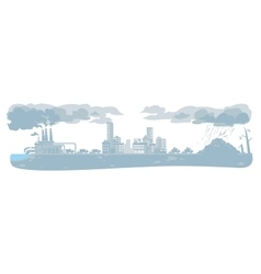 urban ecology background with smoke clouds vector image