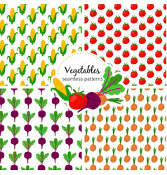 vegetables seamless patterns set corn and vector image