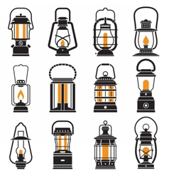Vintage Camping Lantern Labels vector