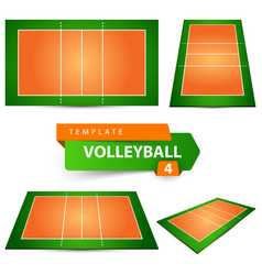 Volleyball court four items template vector