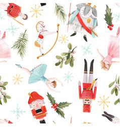 watercolor christmas winter nutcracker vector image
