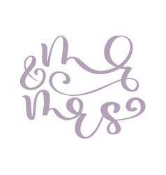 wedding words mr and mrs hand-written vector image