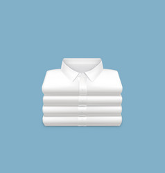 White shirts folded in stack realistic vector