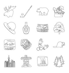 Wild animal deer horns and other canada elements vector